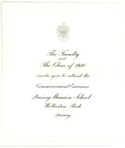 Printed invitation to attend graduating exercises at dean academy of invitation to commencement exercises at quincy mansion school for the graduating class stopboris Choice Image